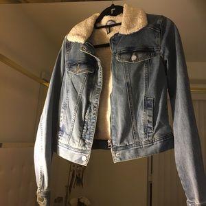 Light blue jean jacket with fur